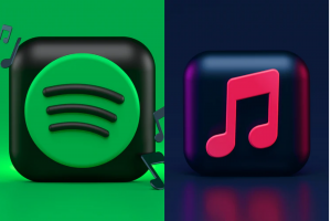 A side by side picture of the Spotify and the Apple Music logos: Spotify vs Apple Music Price